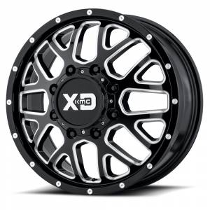 "XD Series - XD Series Grenade Dually 8x6.5, 20"" x 8.25"", Gloss Black and Milled, Front (127 Offset)"