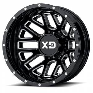 "XD Series - XD Series Grenade Dually 8x6.5, 20"" x 8.25"", Gloss Black and Milled, Rear (-198 Offset)"