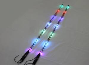 Lighting - Whip Lights - BTR Products - BTR Whip Lights, Twisted Multicolor 4' Whip Pair w/ Remote