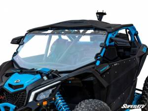 UTV Windshield - Full/ Vented Windshields - SuperATV - Can-Am Maverick X3 Full Windshield, Scratch Resistant Polycarbonate -Clear (With Intrusion Bar)