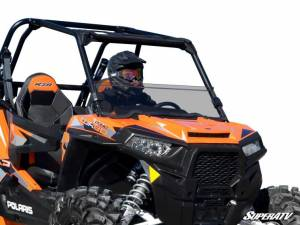 UTV Windshield - Half Windshields - SuperATV - Polaris RZR XP Turbo Half Windshield (2016-18) Scratch Resistant Polycarbonate-Light Tint