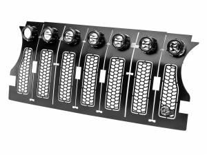 Grilles - Jeep Grille - aFe - aFe Scorpion Insert Grille Tread Design Black w/ LED Lights, Jeep Wrangler JL (2018-20)