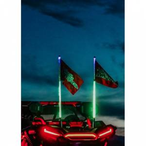 Lighting - Off-Road Lighting - Gorilla Whips - Gorilla Whips Twisted Silver LED Xtreme Pair of Whips with Wireless Remote