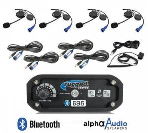 Rugged Radios 4-Place Intercom System with Alpha Audio Helmet Kits