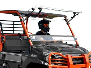UTV Windshield - Flip Windshields - SuperATV - Kawasaki Mule Pro FXT Scratch Resistant Flip Windshield