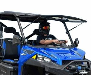UTV Windshield - Flip Windshields - SuperATV - Polaris Ranger XP 1000 Crew, Scratch Resistant Flip Windshield (2017-18)