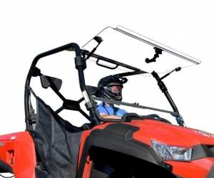 UTV Windshield - Flip Windshields - SuperATV - Kymco UXV 450 Scratch Resistant Flip Windshield