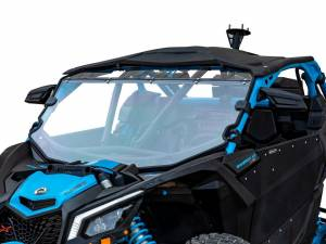 UTV Windshield - Full/ Vented Windshields - SuperATV - Can-Am Maverick X3 Full Windshield, Scratch Resistant Polycarbonate -Clear (Machines With Factory Intrusion Bar)