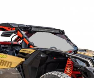 UTV Windshield - Full/ Vented Windshields - SuperATV - Can-Am Maverick X3 Full Windshield, Scratch Resistant Polycarbonate -Light Tint (Machines Without Factory Intrusion Bar)