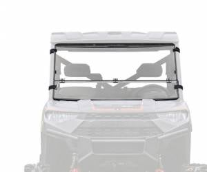 UTV Windshield - Flip Windshields - SuperATV - Polaris Ranger XP 1000 Crew Flip Down Windshield (Scratch Resistant Polycarbonate) Clear