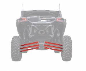 UTV/ATV - UTV Radius Arms - SuperATV - Can-Am Maverick X3, 64 inch, Boxed Radius Arms Complete Kit (Red)