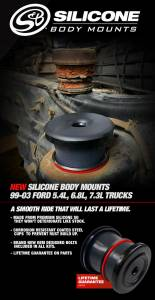 Body Parts - Body Mount Kit - S&B - S&B Silicone Body Mounts,Ford (1999-03) Ford F-250 / F-350 / F-450 / F-550 7.3L, 5.4L and 6.8L Regular & Extended Cab (6pc kit)