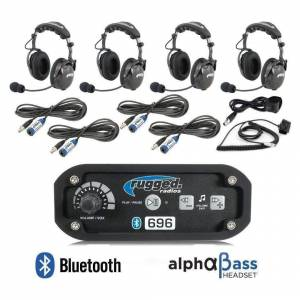 Electronic Accessories - VHF/UHF Radios - Rugged Radios - Rugged Radios RRP696 4 Person Bluetooth Intercom System with Behind the Head (BTH) Headsets