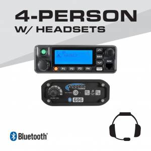 Rugged Radios 4-Person - 696 Complete Communication System - with Behind the head Ultimate Headsets