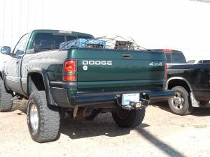 "Brush Guards & Bumpers - Rear Bumpers - Ranch Hand - Ranch Hand Legend Rear Bumper, Dodge (1994-01) 1500, & (94-02) 2500/3500, 8"" w/skirts, 1/10, FR"
