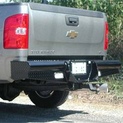 "Brush Guards & Bumpers - Rear Bumpers - Ranch Hand - Ranch Hand Legend Rear Bumper, Chevy/GMC (2011) 2500HD/3500HD, 10"" w/skirts/lights, 1/10, FR, Sensors"