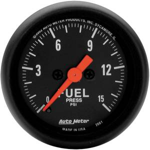 "2-1/16"" Gauges - Auto Meter Z-Series - Autometer - Auto Meter Z-Series, Fuel Pressure 15psi (Full Sweep Electric)"