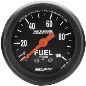 "2-1/16"" Gauges - Auto Meter Z-Series - Autometer - Auto Meter Z-Series, Fuel Pressure 100psi (Mechanical)"