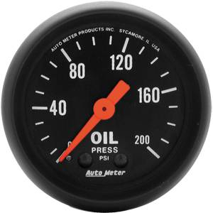 "2-1/16"" Gauges - Auto Meter Z-Series - Autometer - Auto Meter Z-Series, Oil Pressure 200psi (Mechanical)"