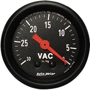 "2-1/16"" Gauges - Auto Meter Z-Series - Autometer - Auto Meter Z-Series, Vacuum 30"" HG (Mechanical)"