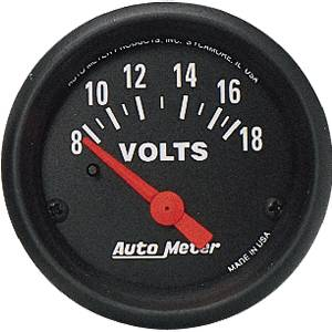"2-1/16"" Gauges - Auto Meter Z-Series - Autometer - Auto Meter Z-Series, Voltmeter 8-18 volts (Short Sweep Electric)"