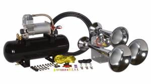 Air Horns - Complete Train Horn Kits - HornBlasters - Outlaw3 Chime Chrome, 2 Gallon 280c, Train Horn Kit
