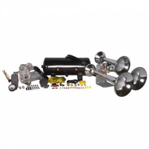Air Horns - Complete Train Horn Kits - HornBlasters - Outlaw3 Chime Chrome, 2 Gallon 325c, Train Horn Kit