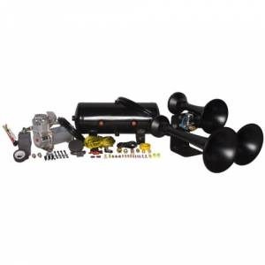Air Horns - Complete Train Horn Kits - HornBlasters - Outlaw 3 Chime Black, 2 Gallon 325c, Train Horn Kit