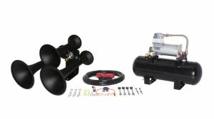 Air Horns - Complete Train Horn Kits - HornBlasters - Outlaw 3 Chime Black, 2 Gallon 280c, Train Horn Kit