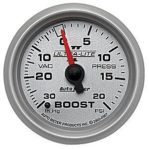 "2-1/16"" Gauges - Auto Meter Ultra Lite II Series - Autometer - Auto Meter Ultra Lite II Series, Boost/Vacuum Pressure 30"" HG/20psi (Mechanical)"