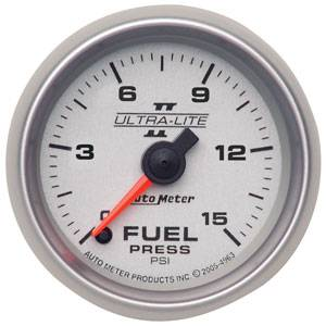 "2-1/16"" Gauges - Auto Meter Ultra Lite II Series - Autometer - Auto Meter Ultra Lite II Series, Fuel Pressure 0-15psi (Full Sweep Electric)"