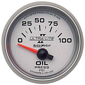 "2-1/16"" Gauges - Auto Meter Ultra Lite II Series - Autometer - Auto Meter Ultra Lite II Series, Oil Pressure 0-100psi (Short Sweep Electric)"