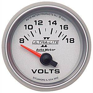 "2-1/16"" Gauges - Auto Meter Ultra Lite II Series - Autometer - Auto Meter Ultra Lite II Series, Voltmeter 8-18volts (Short Sweep Electric)"