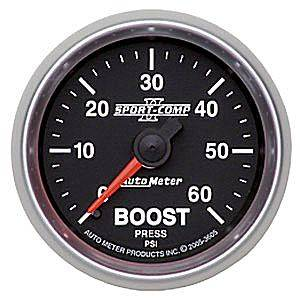 "2-1/16"" Gauges - Auto Meter Sport-Comp II Series - Autometer - Auto Meter Sport-Comp II Series, Boost Pressure 0-60psi (Mechanical)"