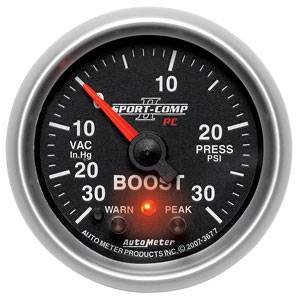 "2-1/16"" Gauges - Auto Meter Sport-Comp II Series - Autometer - Auto Meter Sport-Comp II Series, Boost/Vacuum Pressure 30"" HG/30psi (Full Sweep Electric) w/ Warning"