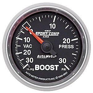 "Auto Meter Sport-Comp II Series, Boost/Vacuum Pressure 30"" HG/30psi (Mechanical)"