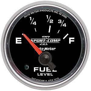 "2-1/16"" Gauges - Auto Meter Sport-Comp II Series - Autometer - Auto Meter Sport-Comp II Series, Fuel Level (Short Sweep Electric) Ford"