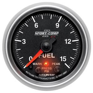 "2-1/16"" Gauges - Auto Meter Sport-Comp II Series - Autometer - Auto Meter Sport-Comp II Series, Fuel Pressure 0-15psi (Full Sweep Electric) w/ Warning"