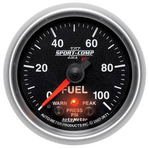 "2-1/16"" Gauges - Auto Meter Sport-Comp II Series - Autometer - Auto Meter Sport-Comp II Series, Fuel Pressure 0-100psi (Full Sweep Electric) w/ Warning"