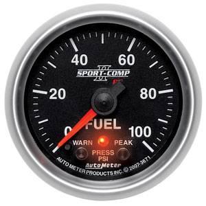 Auto Meter Sport-Comp II Series, Fuel Pressure 0-100psi (Full Sweep Electric) w/ Warning