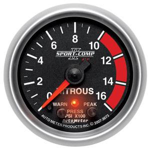 "2-1/16"" Gauges - Auto Meter Sport-Comp II Series - Autometer - Auto Meter Sport-Comp II Series, Nitrous Pressure 0-1600psi (Full Sweep Electric) w/ Warning"