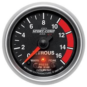 Auto Meter Sport-Comp II Series, Nitrous Pressure 0-1600psi (Full Sweep Electric) w/ Warning