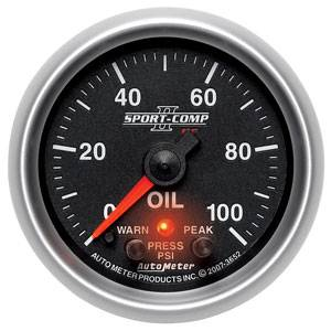 "2-1/16"" Gauges - Auto Meter Sport-Comp II Series - Autometer - Auto Meter Sport-Comp II Series, Oil Pressure 0-100psi (Full Sweep Electric) w/ Warning"