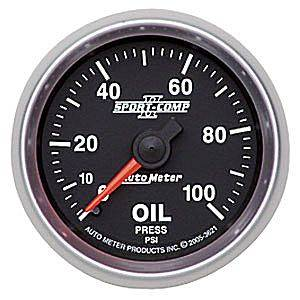"2-1/16"" Gauges - Auto Meter Sport-Comp II Series - Autometer - Auto Meter Sport-Comp II Series, Oil Pressure 0-100psi (Mechanical)"