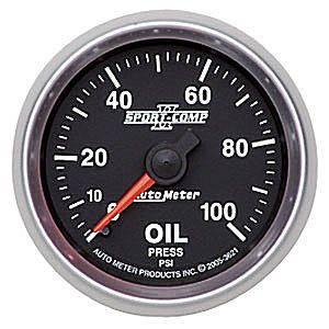 Auto Meter Sport-Comp II Series, Oil Pressure 0-100psi (Mechanical)