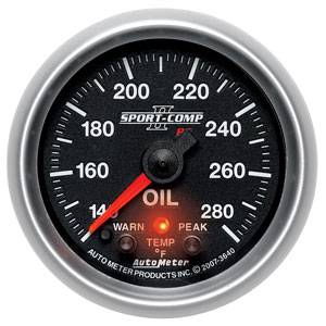 "2-1/16"" Gauges - Auto Meter Sport-Comp II Series - Autometer - Auto Meter Sport-Comp II Series, Oil Temperature 140*-280*F (Full Sweep Electric) w/ Warning"