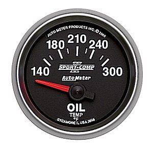 Auto Meter Sport-Comp II Series, Oil Temperature 140*-300*F (Short Sweep Electric)
