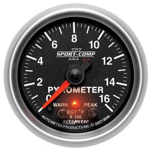 "2-1/16"" Gauges - Auto Meter Sport-Comp II Series - Autometer - Auto Meter Sport-Comp II Series, Pyrometer Kit 0*-1600*F (Full Sweep Electric) w/ Warning"
