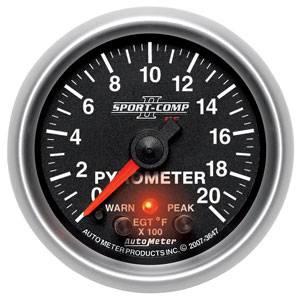 Auto Meter Sport-Comp II Series, Pyrometer Kit 0*-2000*F (Full Sweep Electric) w/ Warning