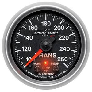 "2-1/16"" Gauges - Auto Meter Sport-Comp II Series - Autometer - Auto Meter Sport-Comp II Series, Transmission Temperature 100*-260*F (Full Sweep Electric) w/ Warning"